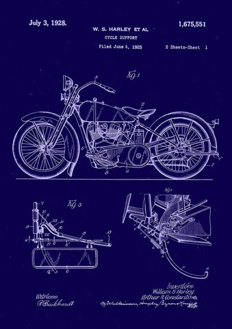 HARLEY DAVIDSON PATENT: Bike Blueprint Art Print