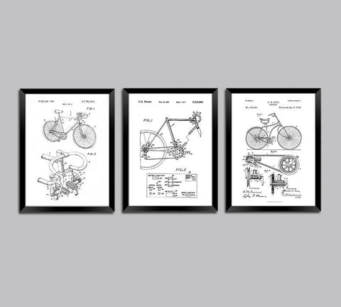 BIKE PATENT PRINTS: Bicycle Blueprint Designs (set of three)