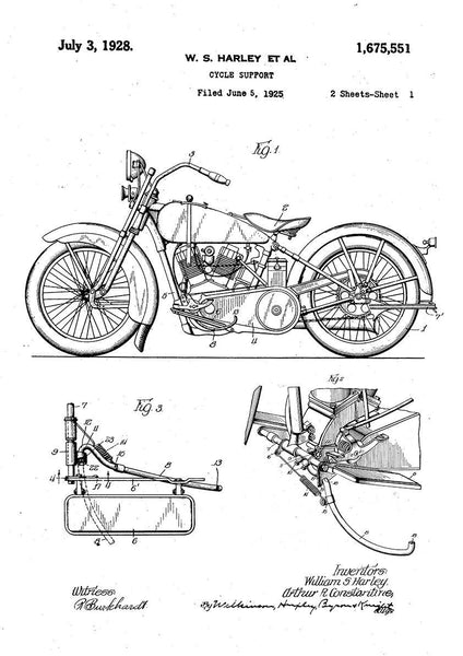 HARLEY DAVIDSON PATENT: Bike Blueprint Art Print - The Print Arcade