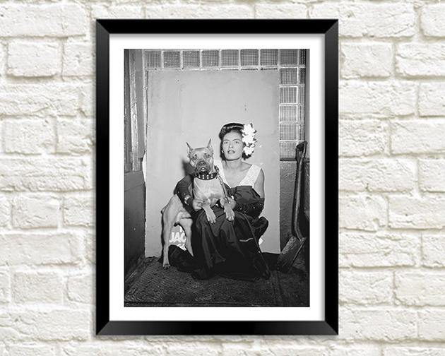 BILLIE HOLIDAY: Portrait with Dog, Black and White Art Print - The Print Arcade