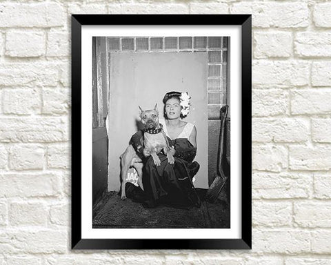 BILLIE HOLIDAY: Portrait with Dog, Black and White Art Print