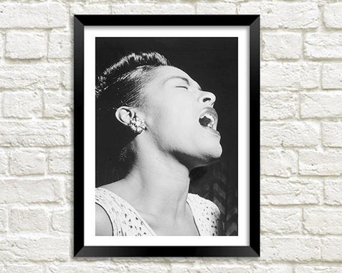 BILLIE HOLIDAY PHOTOGRAPH: Black and White Singer Print