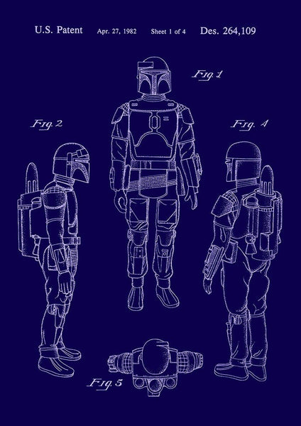BOBA FETT PRINT: Patent Design Artwork Poster - The Print Arcade