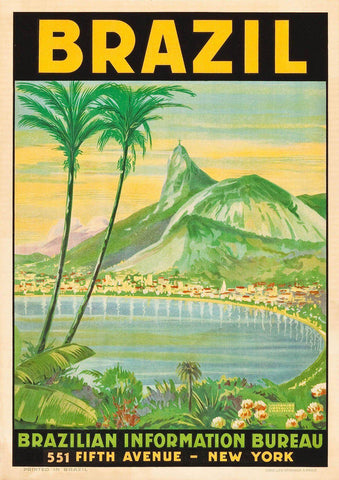 BRAZIL TOURISM POSTER: Vintage Copacabana Beach Advert Print - The Print Arcade