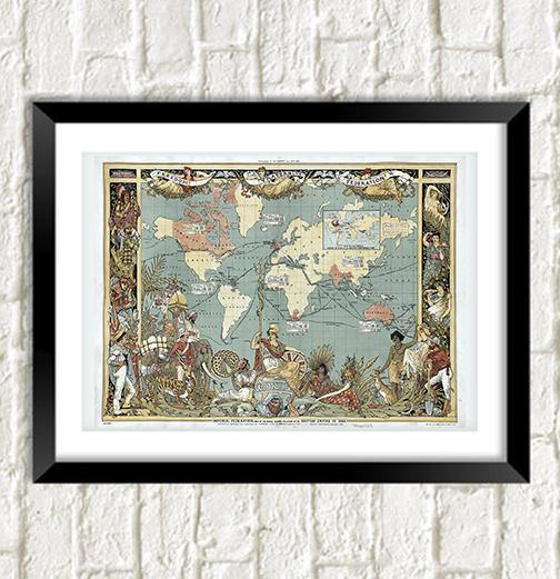 BRITISH EMPIRE MAP: Vintage Victorian Reproduction Art Print