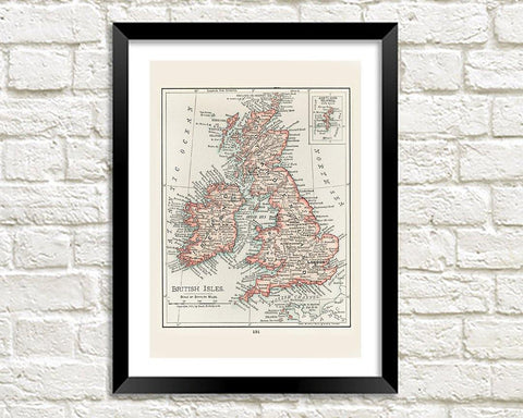 BRITISH ISLES MAP PRINT: Vintage UK Atlas Art