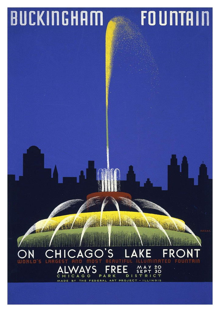 BUCKINGHAM FOUNTAIN POSTER: Vintage Chicago Travel Advert