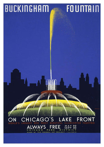 BUCKINGHAM FOUNTAIN POSTER: Vintage Chicago Travel Advert - The Print Arcade