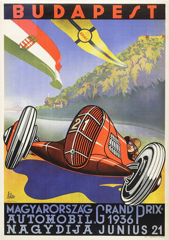 BUDAPEST POSTER: Vintage Grand Prix Car Racing Print - The Print Arcade