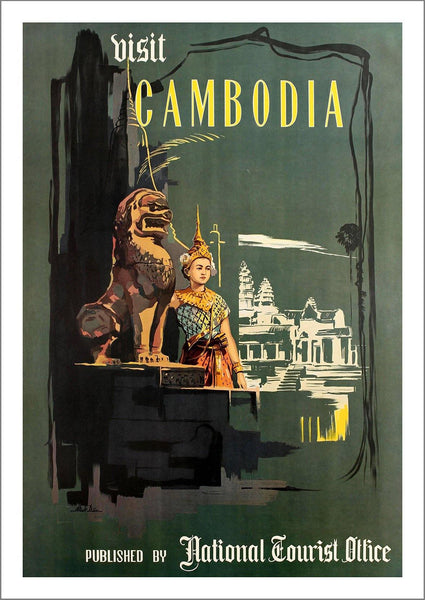 CAMBODIA TOURISM POSTER: Vintage Indochina Travel Print