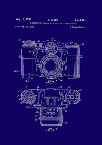 CAMERA PATENT PRINT: Photography Blueprint Artwork