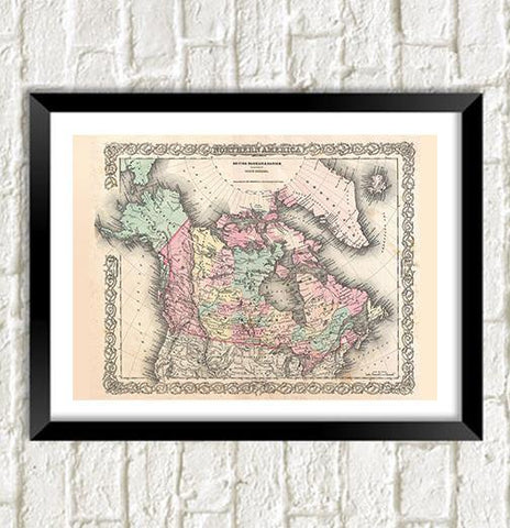 CANADA MAP: Vintage Canadian Reproduction Art Print