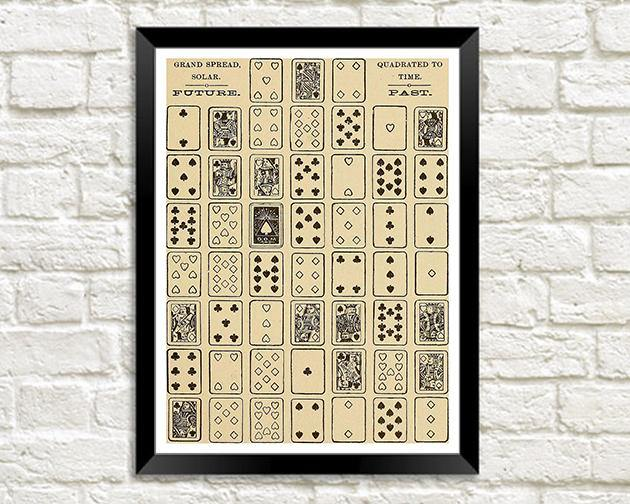 PLAYING CARDS PRINT: Mystic Test Book Art Illustration - The Print Arcade