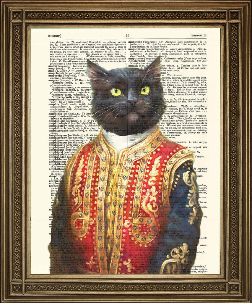 MAHARAJAH CAT PRINT: Kitty Prince Dictionary Art - The Print Arcade