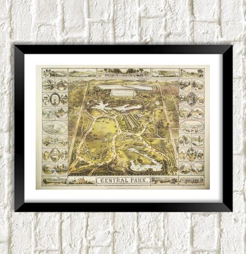 CENTRAL PARK MAP: Vintage New York Art Print - The Print Arcade