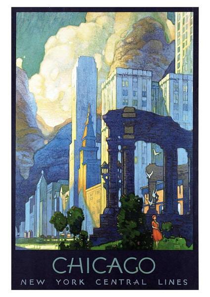 CHICAGO POSTER: Vintage Blue Travel Advert - The Print Arcade