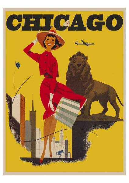 CHICAGO POSTER: Vintage Woman with Lion Yellow Travel Advert - The Print Arcade