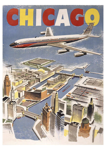 CHICAGO POSTER: Vintage Airline Advert Print