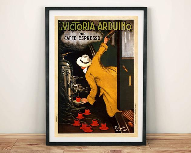 VINTAGE COFFEE POSTER: Old Caffé Espresso Advertisement Art Print - The Print Arcade