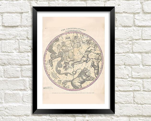 THE CONSTELLATIONS PRINT: Star Globe Map Art - The Print Arcade