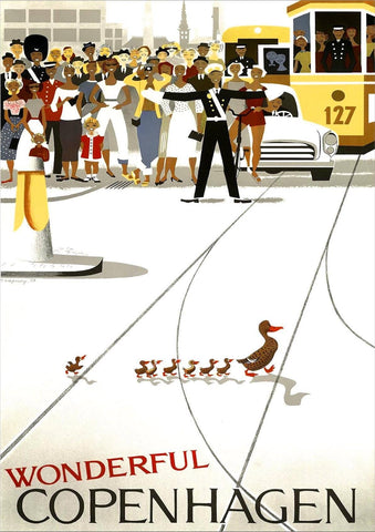 COPENHAGEN POSTER: Vintage Ducks Tourism Advert Print - The Print Arcade