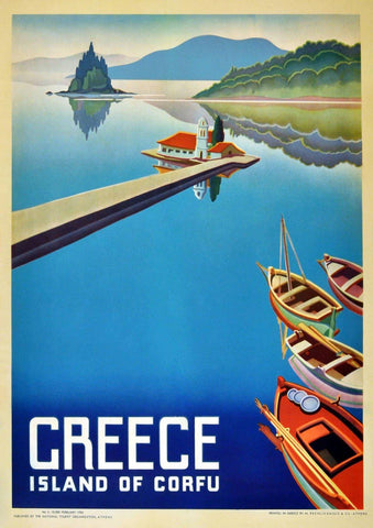 CORFU TOURISM POSTER: Vintage Greek Island Travel Advert Print - The Print Arcade