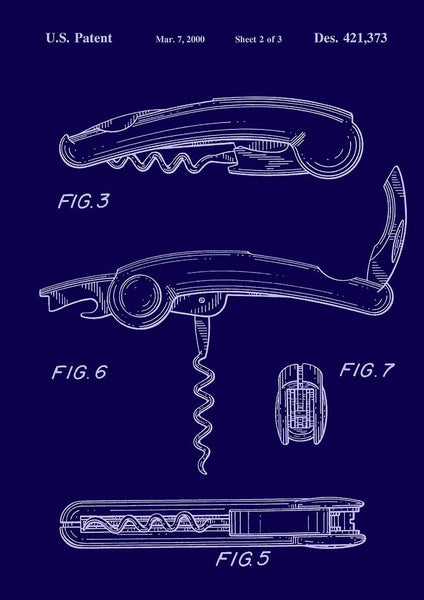 CORKSCREW PRINT: Patent Blueprint Artwork - The Print Arcade
