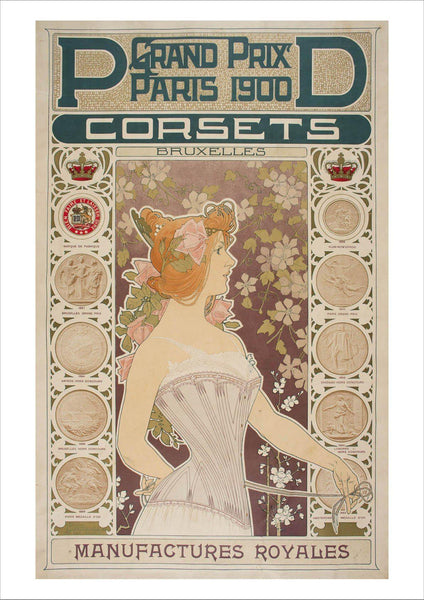CORSETS POSTER: Vintage Paris Advert Art Print - The Print Arcade