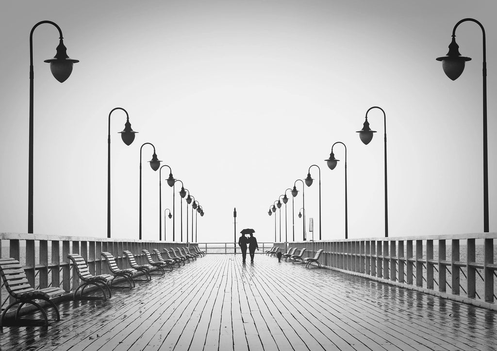 WALKING ON PIER: Black and White Photography Print - The Print Arcade