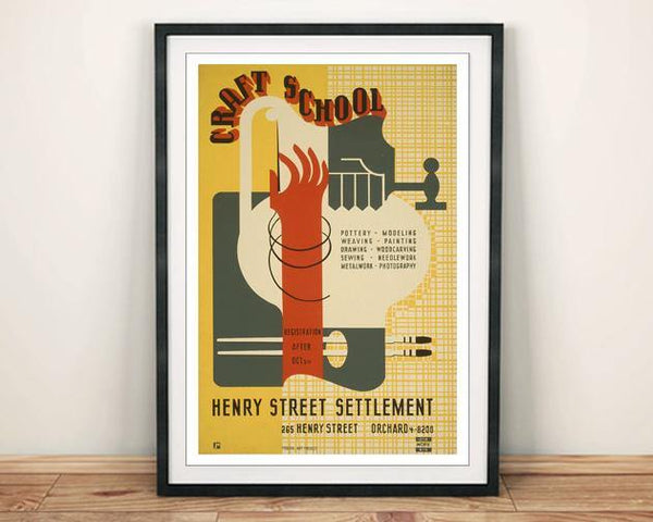 CRAFT SCHOOL POSTER: WPA Art Advert Print - The Print Arcade