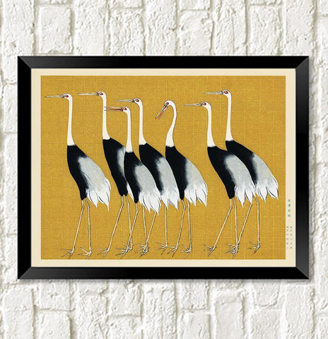 BIRDS ART PRINT: Vintage Japanese Cranes Illustration