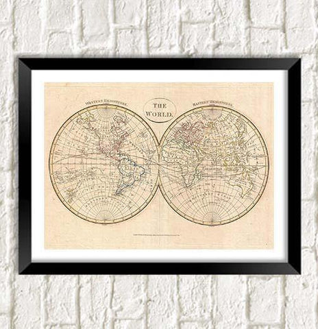 MAP PRINT: Clement Cruttwell Globe Atlas Illustration - The Print Arcade