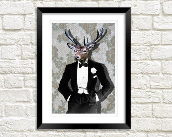 MR DEER: Fun Black Tie Animal Man Art Print - The Print Arcade
