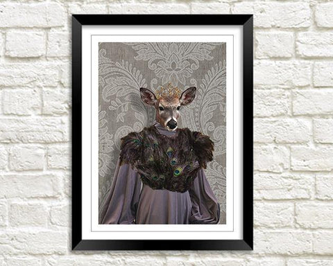 MRS DEER: Fun Doe Woman Animal Art Print