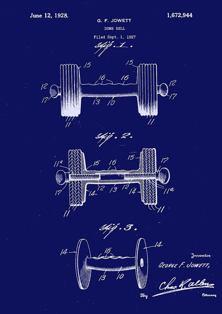 DUMBBELL PRINT: Weight Lifting Patent Blueprint Artwork - The Print Arcade