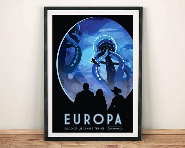 EUROPA POSTER: NASA Ice Blue Moon Space Print - The Print Arcade