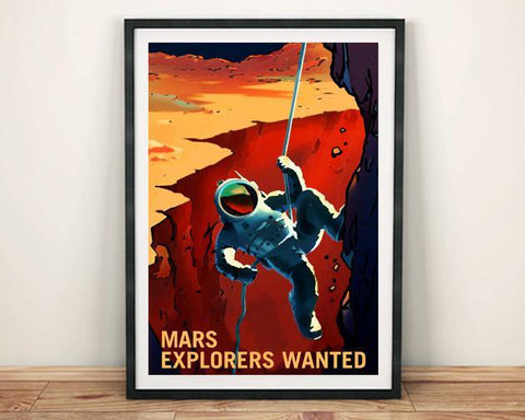 EXPLORERS WANTED POSTER: NASA Mars Space Print - The Print Arcade