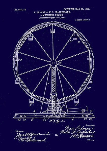 FERRIS WHEEL PRINT: Fairground Patent Blueprint Artwork