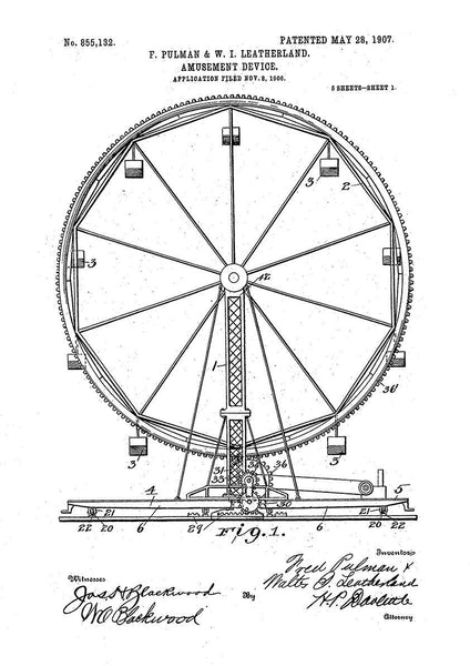 FERRIS WHEEL PRINT: Fairground Patent Blueprint Artwork - The Print Arcade