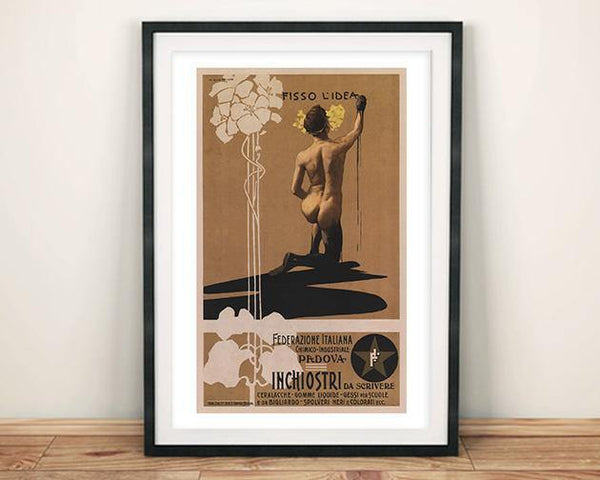 FISSO L'IDEA POSTER: Vintage Scrivere Ink Advert Art Print - The Print Arcade
