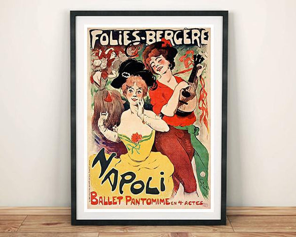 FOLLIES BERGÈRE POSTER: French Cabaret Advert Print - The Print Arcade
