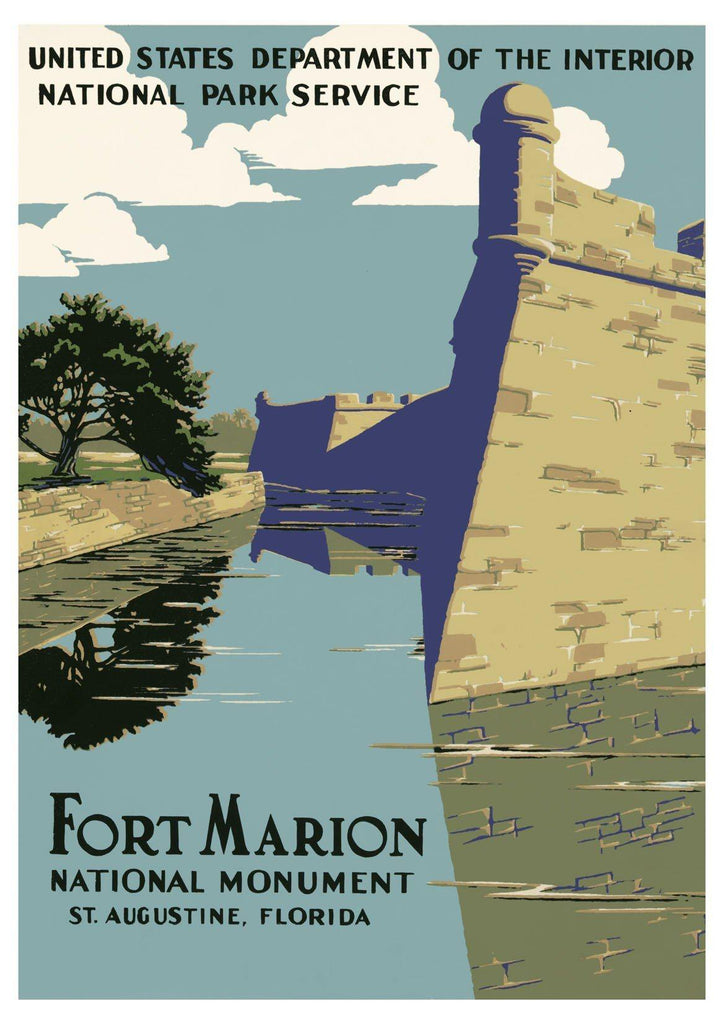 FORT MARION POSTER: Vintage National Parks Travel Advert - The Print Arcade