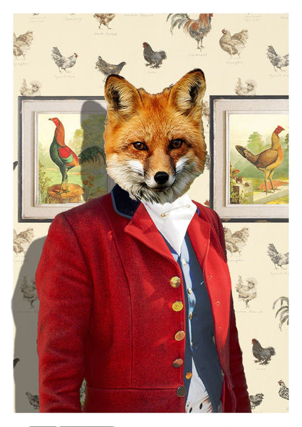MR FOX: Fun Animal Art Print With Chickens - The Print Arcade
