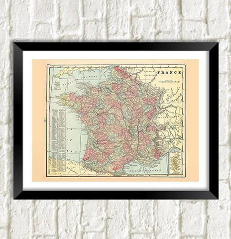 FRANCE MAP: Vintage French Atlas Art Print