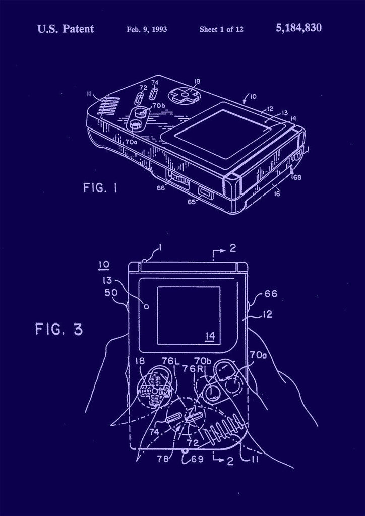 GAMEBOY PATENT PRINT: Nintendo Console Design Blueprint