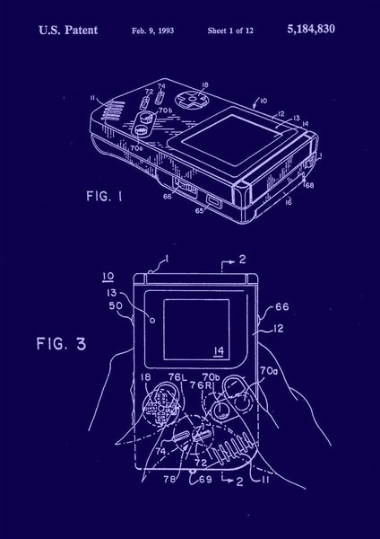 GAMEBOY PATENT PRINT: Nintendo Console Design Blueprint - The Print Arcade