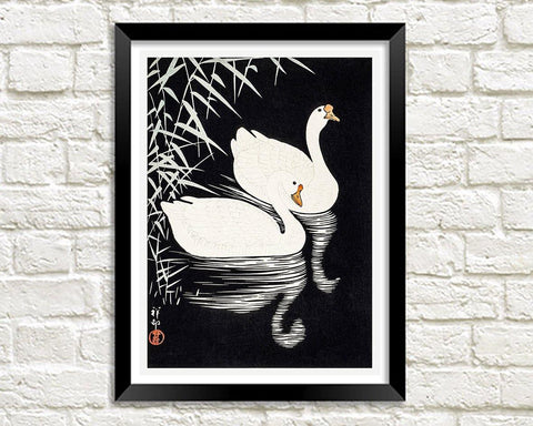 WHITE GEESE ART PRINT: Vintage Chinese Birds Illustration