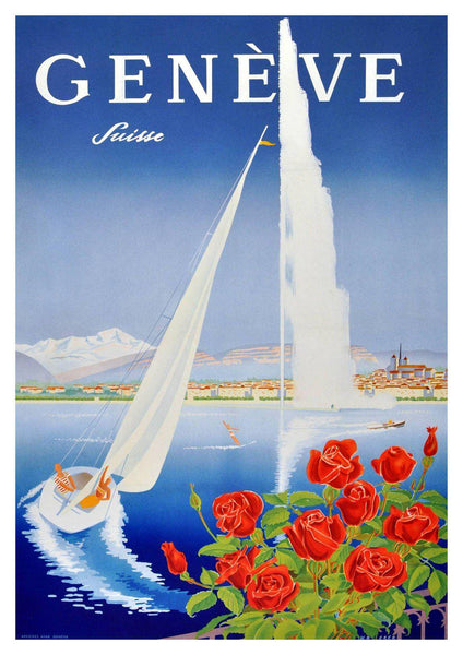 GENEVA TRAVEL POSTER: Vintage Swiss Geneve Advert - The Print Arcade