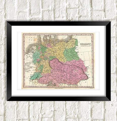 GERMANY MAP: Vintage German Atlas Art Print