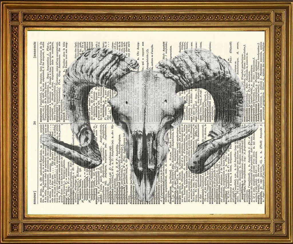 GOAT SKULL PRINT: Satanic Art on Old Dictionary Page - The Print Arcade